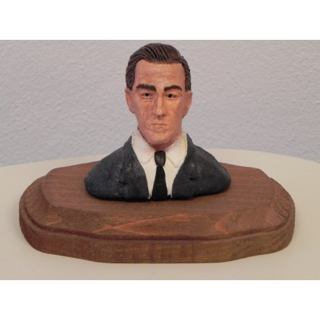 H.P. LOVECRAFT PICCOLO BUSTO IN LEGNO DI DUNGEON OF DESIGN - FIGURA STATUE BUST