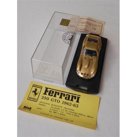 FERRARI 250 GTO 1962 MODEL BOX LIMITED EDITION GOLD PLATED 24Kt 1:43 MODELLINO