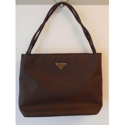 PRADA BORSA A MANO IN STOFFA - BAG ORIGINALE MARRONE DONNA MADE IN ITALY