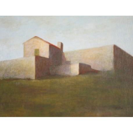 LUCIO STATTI - DIPINTO OLIO SU TELA - CASOLARI A MILAZZO - QUADRO 30 x 40